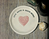 Kitchen Grater - Ginger Grater - Garlic Grater Plate - Heart Plate - Kitchen Gift - Gift For Her - Valentines Day Gift - Ceramic