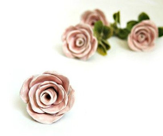 Pink Rose Knob Pulls - Rose Drawer Pull -  Ceramic Knob Pulls - Dresser Knobs and Pulls