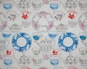 Charming Tea Party China Print Pure Cotton Fabric--One Yard