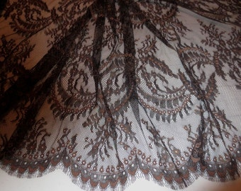Black and Brown Floral Design Chantilly Leavers Lace Fabric--One Yard