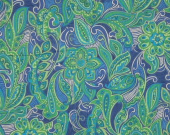 Kelly Green and Royal Blue Paisley Print Pure Cotton Lawn Fabric--One Yard