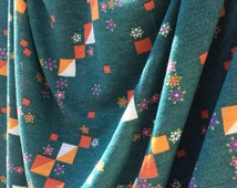 Jersey Knit Vintage Fabric in Green with Design of Squares and Flowers (1-1/2 yards) - retro fabric, tshirt fabric, 1970s fabric