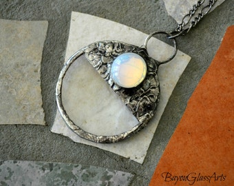 Glass Opal Necklace, Real Magnifying Glass Pendant, Glass Magnifier, Magnifying Lens, Opal Inset, Better than Readers, Monocle (2231)