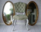 G O L D, Oval Mirror, Cottage Nursery, Vanity,