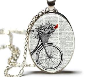 Bicycle With Cardinal Dictionary Art Print Pendant Dictionary Necklace Wearable Art Cardinal Necklace HHP Original Art Work