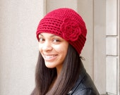 Crochet Hat,Flower Hat, Beanie With Flower, Dark Red, Adult, Crochet, Women, Teen