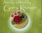 Hand painted  MOP button - Lady Bug -special price