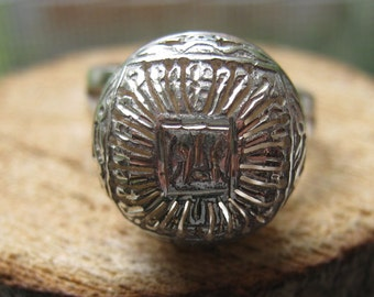 Vintage Sterling Silver Adjustable Ladies Womens Ring Sizes 5 6 7 Victorian Ball Design