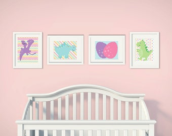Baby Girl Dinosaur | Set of 4 | Nursery Art | Wall Art | Nursery Decor |  5x7 | 8x10 | 11x14