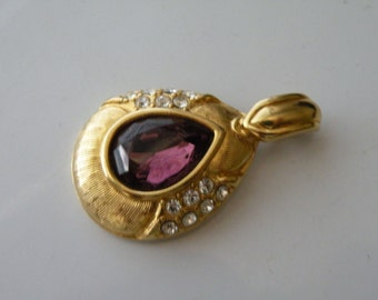 KJL Kenneth Lane Purple & Clear Rhinestone Gold tone Pendant
