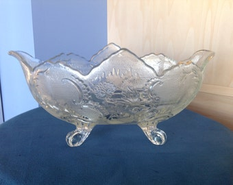 Oval Glass Embossed Bowl