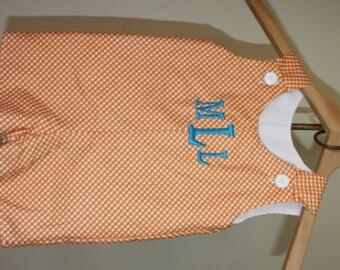 Boys monogram jonjon in orange and aqua, personalized baby romper