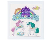 Sandylion Stickers: Unicorns Rainbow Castle in the Clouds Moon Sun Unicorn