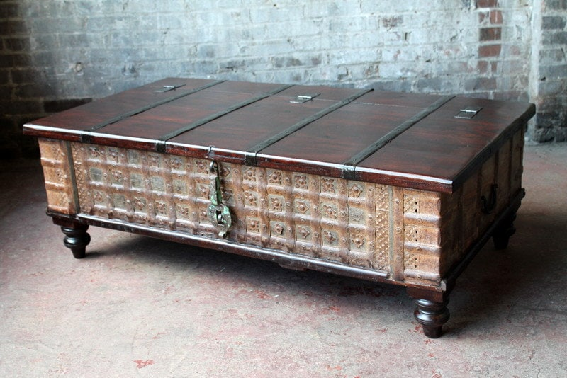 Reserved reclaimed trunk coffee table rust and jade green iron Indian trunk coffee table