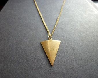 40% OFF SALE! - Geometric Shape Triangle Arrowhead Raw Brass Necklace