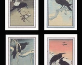 4 Blank Note Cards of Crows by Koson gcbs018