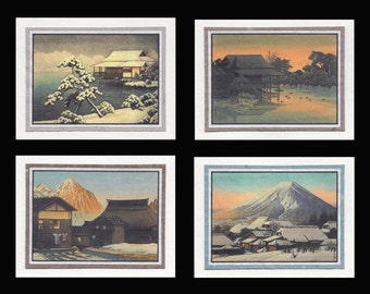 4 Blank Note Cards of Japanese Archecture by Hasui gcas008