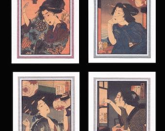 4 Blank Note Cards of Ukiyo-e Bijin by Yoshitsohi gccs023