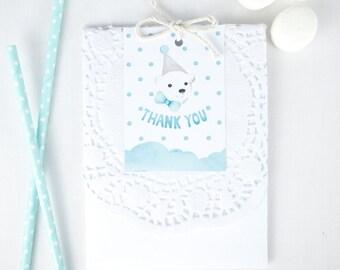 Favour Tags Printable - Polar Bear Snow Theme Birthday Party - Light blue thank you tags printable for boys first birthday