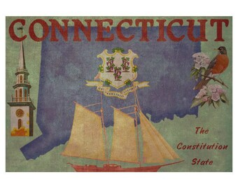 CONNECTICUT 1FS- Handmade Leather Photo Album - Travel Art