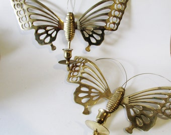Vintage Brass Butterfly Sconces,  Wall Candle Sconces, Palm Beach Decor