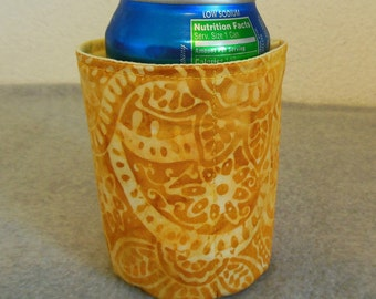 Insulated Can Cooler - Yellow Batik