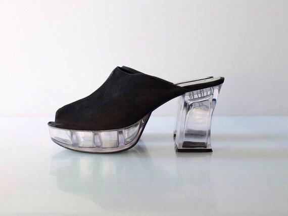 1980s steve madden clear plastic platform heels vintage