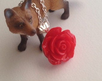 Red Rose Cabochon Silver Necklace