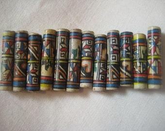 Vintage Handmade Beads: Handmade Ceramic Clay Tube Beads from Peru, Hand Painted Tribal Ethnic Llama and Cactus Designs, 20x4mm, 12 pcs.