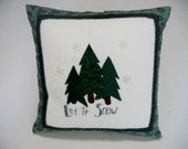 Primitive Winter Christmas Pillow Throw Pillow Decorative Pillow Evergreen Trees and Snowflakes