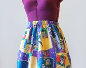 SALE - 90s Batman and Robin Skirt (xs, s, m, l, xl, xxl) Ladies geeky skirt, vintage batman, geeky clothing, upcycled sheet, movie fandom