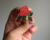 Vintage rose hard enamel lapel pin