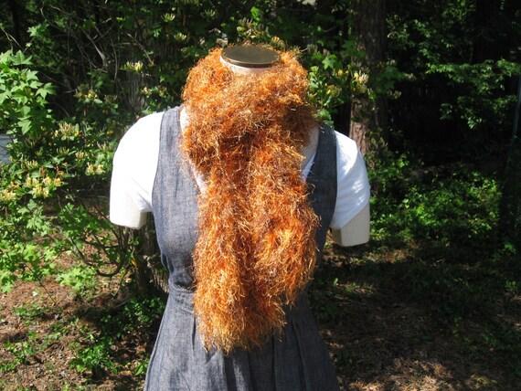 Saffron and brown fluffy boa scarf