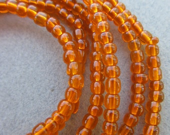 Tangerine Glass Beads -2 strands