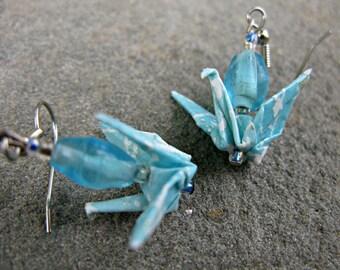 Sky Blue Origami Crane Earrings