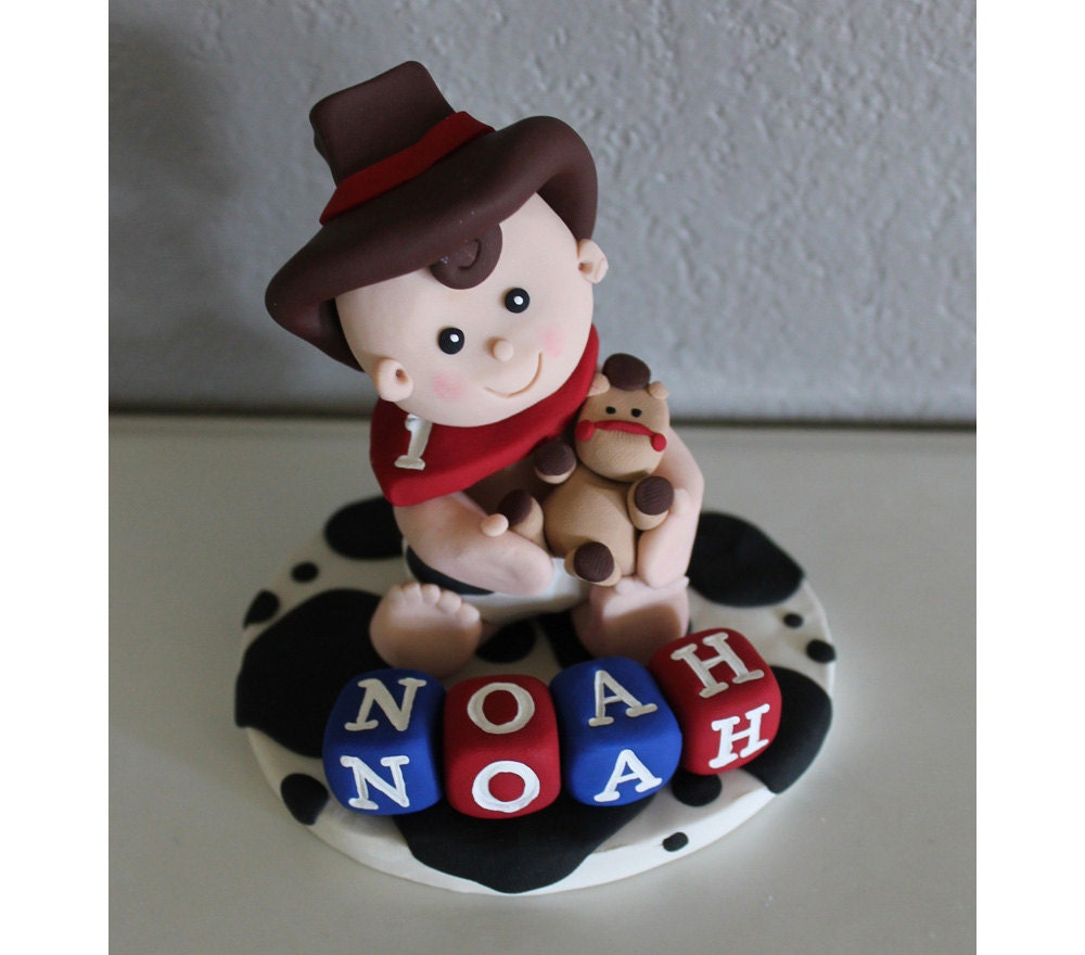 custom cowboy cake toppers for birthday or baby shower