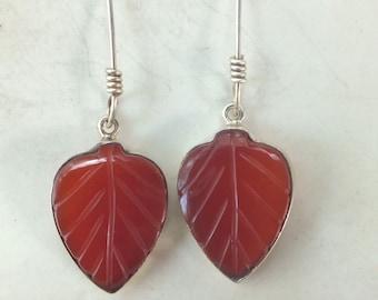 Carnelian and Sterling Silver Leaf Earring
