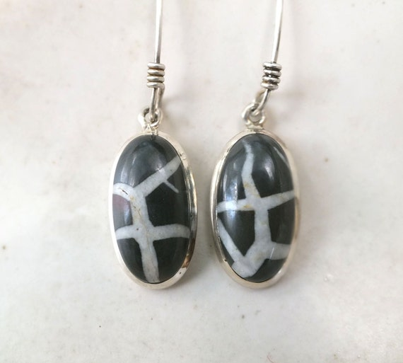 Zebra Jasper set in Sterling Silver Dangle Earring---Tribal