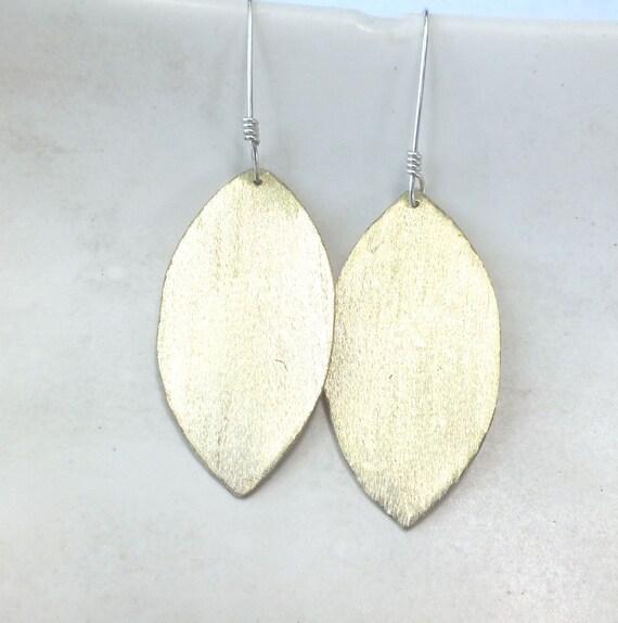 Glitter Earrings----Brass Textured Earrings in a Leaf
