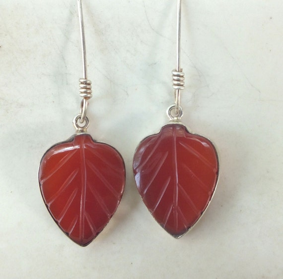 Carnelian and Sterling Silver Leaf Earring