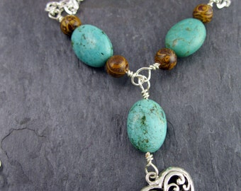 Turquoise and Elephant Skin chain necklace