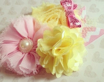 Pink Lemonade + Baby Girl Headband + Couture Headband + Boutique Headband + Girl + Toddler + Flower Shabby Chic + Photo Prop + Sequin Bow