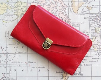 Christmas gift for her, Leather wallet, Red wallet, Women's wallet, Handmade wallet