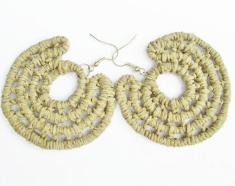 Woven Hemp Earrings -Woven Hoop Earrings -2 inch