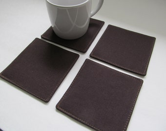 Set Of 4 Fabric Coasters/Dark Brown Solid