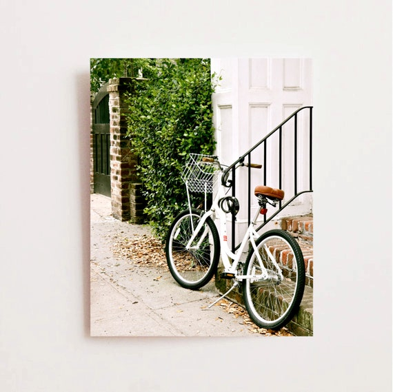 Southern home decor bicycle photograph white bike for Bicycle decorations home