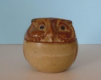 Vintage Pottery Stoneware Owl Lidded Jar/Trinket Box