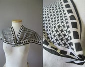 80s Wing Tip Black White Vera Scarf - Color Block