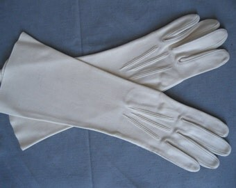 Vintage 1950s Tan Gloves - Leather Tailored Crescendoe Elbow Length - Bridal Gloves - Size 7