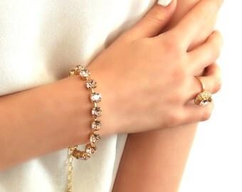 Blush Bridal Bracelet,Swarovski Blush Bridesmaids Bracelet,Bridal Blush Pink Crystal Bracelet, Swarovski Pink Blush Bracelet,Gift For Her